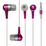 METALLIC EARBUD EARPHONE IN DARK PINK