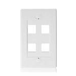 Cable Matters Wall Plate with 4-Port Keystone Jack in White