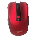 WIRELESS MOUSE IN BLACK AND RED RUBBER COATING