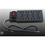 8 OUTLET DELUXE POWER STRIP IN BLACK