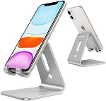 OMOTON Desktop Cell Phone Stand Advanced 4mm Thickness Aluminum Stand Holder for Switch, Mobile Phone, iPhone 11 Pro Xs Max Xr, Silver