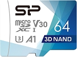 Silicon Power 64GB R/W up to 100/ 80MB/s Superior Pro Micro SDXC UHS-I (U3), V30 4K A1, High Speed MicroSD Card with Adapter