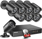 ANNKE Home Security Camera System 8 Channel 1080P Lite Wired DVR and 8X 1080P HD Outdoor IP66 Weatherproof CCTV Cameras, Smart Playback, Instant Email Alert with Images, 1TB Hard Drive Included