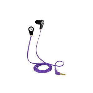 EARBUD EARPHONE FLAT CABLE IN COLOR: BLUE OR PURPLE